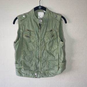 Green Utility Vest Anthro Medium Tribal Print M